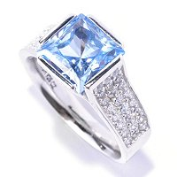 BLTA SS/PLAT SIMULATED BLUE PRINCESS CUT TENSION SET PAVE RING