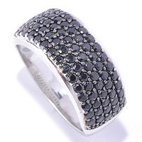 BLTA SS/PLAT SIMULATED BLACK DIA ROUND CUT PAVE BAND RING