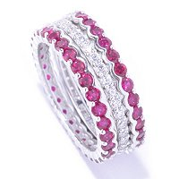BLTA SS/PLAT SET OF 3 RUBY AND WHITE ROUND CUT ETERNITY BAND RINGS