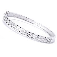 BLTA SS/PLAT ROUND CUT TENSION THREE ROW OVAL BANGLE BRACELET