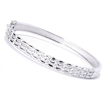 127-779 - Brilliante® Platinum Embraced™ Tension Set Simulated Diamond Oval Bangle Bracelet
