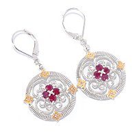 SS/P TWO-TONE EAR PRECIOUS GEM & DIAMOND MEDALLION DROP