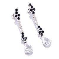 SS/P EAR BLACK SPINEL, DIAMOND, & ROCK CRYSTAL QUARTZ ELONGATED DROP