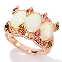 SS/P RING ETHIOPIAN OPAL & EXOTIC GEMSTONE