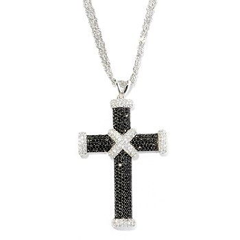 127-803 - Gem Treasures Sterling Silver 3.59ctw Spinel & White Zircon Cross Pendant w/ Chain
