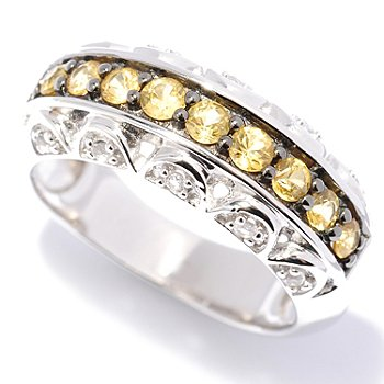 127-805 - Gem Treasures Sterling Silver Colored Sapphire & White Topaz Band Ring