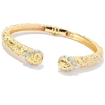 127-806 - Jaipur Bazaar Gold Embraced™ 0.10ctw Diamond Satin Finished Filigree Hinged Bangle Bracelet