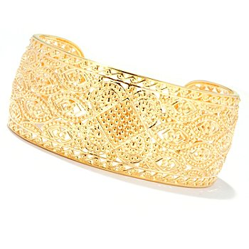 127-811 - Jaipur Bazaar Gold Embraced™ 7.5'' Ornate Cuff Bracelet