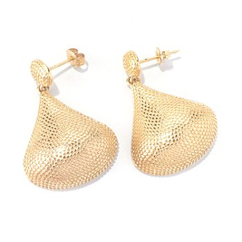 127-815 - Jaipur Bazaar Gold Embraced™ 1.25'' Pear Shaped Bead Textured Drop Earrings