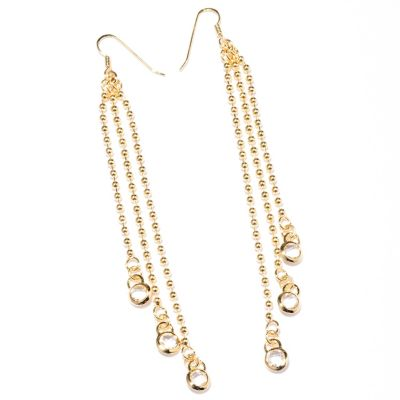 127-829 - Milano Luxe Gold Embraced™ Crystal Quartz Beaded Dangle Earrings