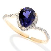14K YG PEAR IOLITE AND DIAMOND RING