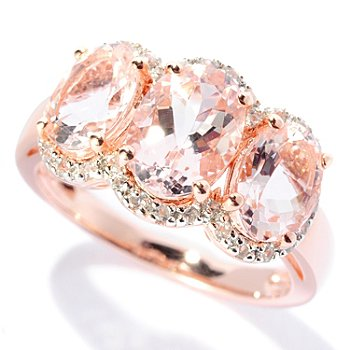 127-844 - NYC II 2.64ctw Morganite & White Zircon Three-Stone Ring