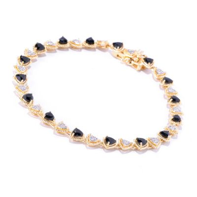 127-847 - NYC II Trillion Shaped Black Spinel & White Zircon Tennis Bracelet