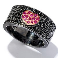 SS/BLK RHOD RING BLACK SPINEL & PAVE GEM HEART BAND