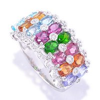 SS/PLAT RING EXOTIC MULTI GEMSTONE & WHITE ZIRCON BAND