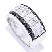 SS/PLAT RING PRINCESS-CUT WHITE ZIRCON & BLK SPINEL BAND