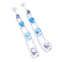 SS/PLAT EAR MULTI BLUE TOPAZ & WHITE QUARTZ 4-TIER CHAIN DROP