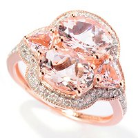 SS/18K ROSE VERMEIL RING DOUBLE 8x6MM MORGANITE w/ TRILLION ACCENT & WHT ZIRCON