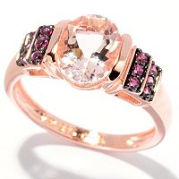 SS/18K ROSE VERMEIL & BLK RHOD RING 8x6MM MORGANITE & MULTI GEM