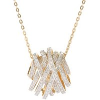 SS/ CHOICE PLATED CRISS CROSS DIAMOND PENDANT W/ CHAIN