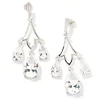 SS/PLAT EAR WHITE QUARTZ & WHITE ZIRCON CHANDELIER