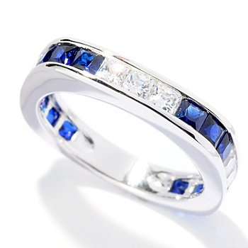 127-863 - Brilliante® Platinum Embraced™ 1.86 DEW White & Blue Princess Cut Square Band Ring