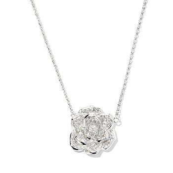 "127-870 - Brilliante® 18"" Pave Set Simulated Diamond Flower Necklace w/ 2"" Extender"