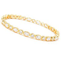 SB SS/CHOICE OVAL AND ROUND MILGRAIN BANGLE BRACELET