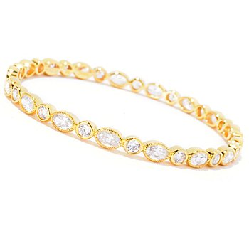 127-871 - Sonia Bitton for Brilliante® Oval & Round Cut Milgrain Slip-On Bangle Bracelet