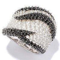 SS BLACK SPINEL AND WHITE TOPAZ WIDE RING
