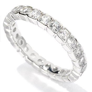 127-873 - Gem Treasures Sterling Silver Bezel Set Colored Zircon Eternity Band Ring