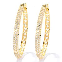 "SB SS/CHOICE PAVE 1.5"" HOOP EARRINGS"