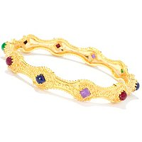 SS/18KYGP BRAC MULTI GEMSTONE STATION SLIP-ON BANGLE