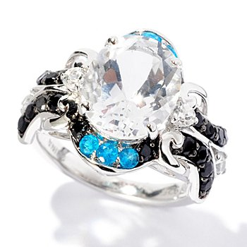 127-882 - NYC II 3.83ctw White Quartz & Multi Gemstone Ring