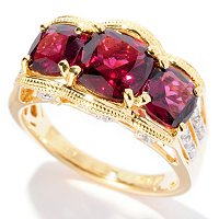 SS/P RING 3-STONE CUSHION BRAZILIAN GARNET