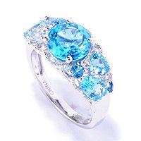 SS/PLAT RING MULTI BLUE TOPAZ