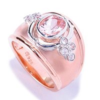 SS/TWO-TONE RING MORGANITE & WHT ZIRCON CIGAR BAND