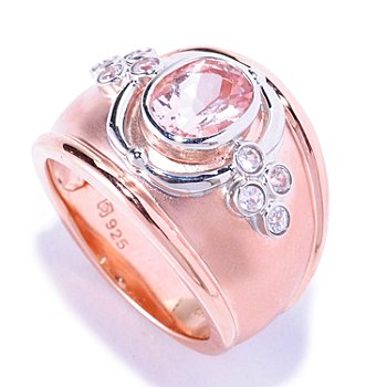 127-885 - NYC II 1.03ctw Morganite & White Zircon Cigar Band Ring