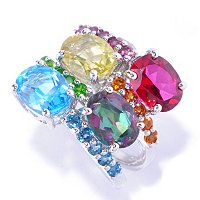 SS/PLAT RING FOUR-ROW MULTI GEMSTONE