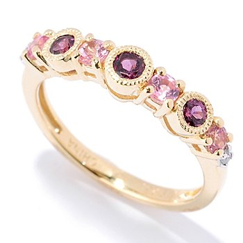 127-888 - NYC II Seven-Stone Gemstone & White Zircon Stack Band Ring