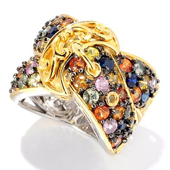 127-895 - Gems en Vogue II 3.12ctw Multi Color Sapphire Buckle Band Ring