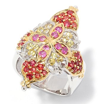 127-896 - Gems en Vogue II 5.40ctw Pink, Orange and Yellow Sapphire Ring