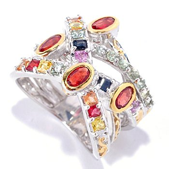 127-897 - Gems en Vogue II 2.36ctw Multi Color Sapphire Five-Row Ring