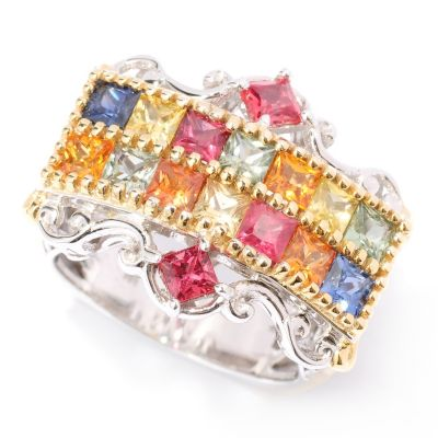 127-901 - Gems en Vogue II 2.72ctw Multi Color Princess Cut Sapphire Ring