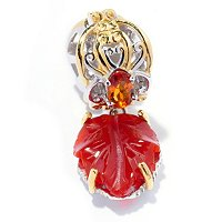 SS/PALL CHARM CARVED GEMSTONE LEAF DROP