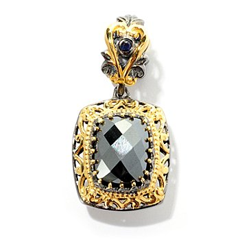 127-911 - Gems en Vogue II 10 x 8mm Hematite and Sapphire ''Constantinople'' Drop Charm