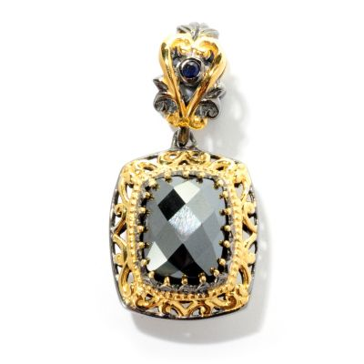 "127-911 - Gems en Vogue II 10 x 8mm Hematite and Sapphire ""Constantinople"" Drop Charm"