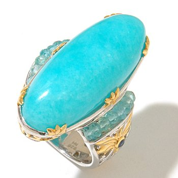 127-913 - Gems en Vogue II 30 x 12mm Amazonite, Apatite & Sapphire Elongated Ring