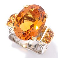 SS/PALL RING 18x13MM MADEIRA CITRINE & ORANGE SAPH