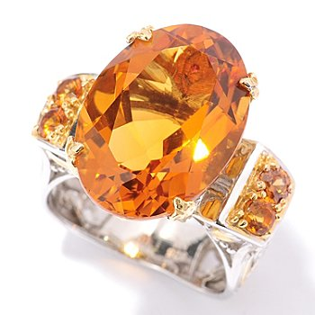 127-914 - Gems en Vogue II 10.40ctw Madeira Citrine and Orange Sapphire Ring